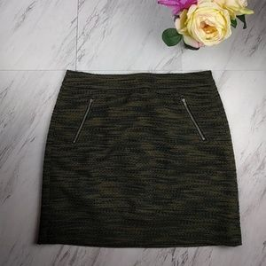 Loft Green and Black Skirt SZ 10P NWT